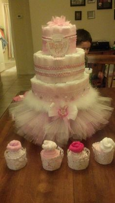 Diaper cake for a baby girl