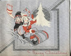Vintage Christmas Card -  Art Deco Children on a Sled