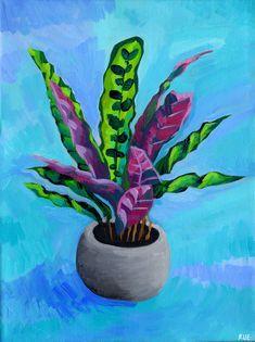 Houseplant Art Print by chromarue - Modern Plant Painting, Plant Art, Rock Painting, Oil Pastel Art, Watercolor Wallpaper, Art Party, Art Plastique, Botanical Art, Painted Rocks