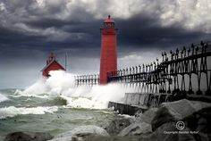 Storm at the Grand Haven Lighthouse in Michigan