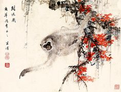 Chinese animals art prints Monkey painting fine art