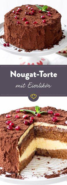 Eierlikörchen gefällig? Hier bekommst du ihn sowohl in einer süßen Creme mit weißer Schokolade als auch im herrlich saftigem Nougatboden serviert.