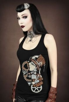 Restyle-Tank-Top-Steampunk-Mad-Hatter-Gothic-Mechanical-Alice-Teeparty-RT30