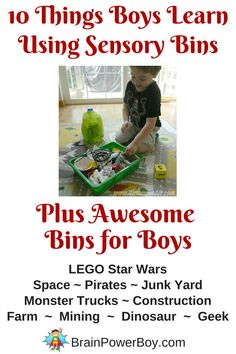 10 things boys learn through using sensory bins and some awesome bins for boys. (Preschool or Kindergarten) Activities For Boys, Sensory Activities, Preschool Ideas, Sensory Tubs, Sensory Play, Learning Activities, Kids Learning, Movement Activities, Learning Spaces