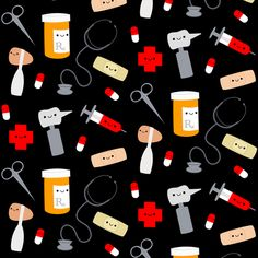 Happy Doctor - Black fabric by clayvision on Spoonflower - custom fabric