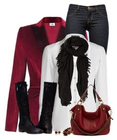 """Red Velvet Blazer"" by daiscat ❤ liked on Polyvore featuring Altuzarra, J Brand, NIC+ZOE, Rick Owens, Ella Moss and Wallis"