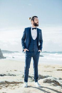 Tout de bleu vêtu le jour de son mariage #mariage #look #homme #wedding #tenue #chic #bleu