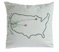 I so wish I had seen this before my wedding! HandEmbroidered Ring Bearer Pillow Cover  Custom State by Plumed, $55.00