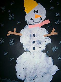 "My version of ""Snowmen at Night"" marshmallow painting"