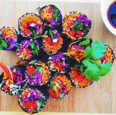 Eat the Rainbow! Raw Veggie Nori Rolls via Funky Forest Food