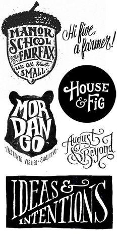 Hand lettering by Joel Felix, Neil Tasker., Scout's Honor Co., Estudio Tricota, Matt Lehman & Jon Contino.