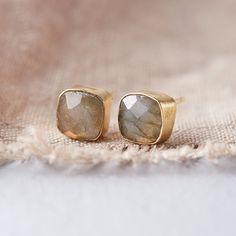 Labradorite Square Stud Earrings