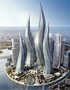 Futuristic project of 4 Dubai Towers representing: Hope, Harmony, Growth and Opportunity