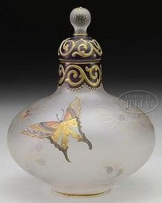 Antique vintage perfume scent bottle 'mariposa', Mt Washington Glass Royal Flemish, Butterflies & Foliage, Satin Glass. Circa 1880-1910, American. Height 6 inches.