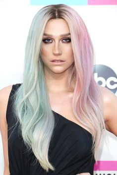 Ke$ha revealed two-toned cotton-candy hair at the American Music Awards this past November.