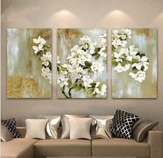 Интернет-магазин Hand Painted Abstract White Floral Picture Wall Flower Oil Painting 3 Panel Canvas Wall Art Modern Home Decoration Sets Modern Oil Painting, Oil Painting Flowers, Oil Painting On Canvas, Gold Leaf Art, Floral Wall Art, Flower Oil, Art Mural, Wall Art Pictures, Living Room Pictures