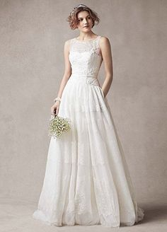 Beautiful Lace SAMPLE Melissa Sweet Sleeveless Wedding Dress with Tulle Style AI