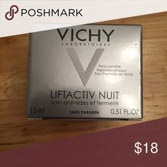 NIB Vichy Lift Activ Nuit (0.51 fl oz) NIB travel size of Vichy Lift Activ Nuit cream. Breakthrough nighttime formula featuring Rhamnose. Helps combat the signs of skin aging by visibly reducing the appearance of wrinkles & helping to boost skin's firmness. Skin's youthfulness is restored. Retail is $50 for the 1.7 oz full size. Smoke- and pet-free. Vichy Makeup