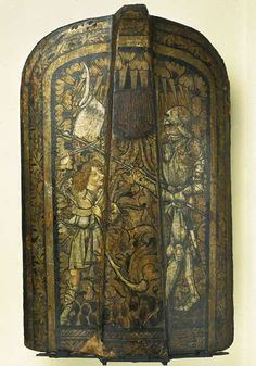 David and Goliath shield, wood and painted leather, mid-to-late 15th century (Musée de Cluny, Paris)