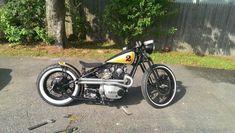 Custom Yamaha XS650 Bobber #caferacerforsale #caferacer Cafe Racer For Sale, Custom Cafe Racer, Custom Bobber, Cafe Racer Build, Custom Motorcycles, Motorcycles For Sale, Xs650 Bobber, Bobber Bikes, Triumph 650