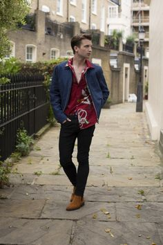 Josh Newis-Smith Shopping Editor at LFW SS17  Oliver Spencer from The Shop at Bluebird jacket Louis Vuitton shirt Paige Denim trousers Office boots