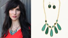 Green Drop Necklace – Earring Set