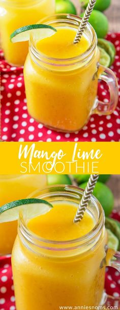 This thick and creamy Mango Lime Smoothie is the perfect post workout pick me up! Tropical and zingy, it's one super delicious smoothie!