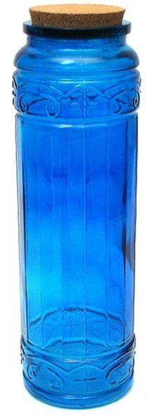 Blue Glass Jar / Canister w/ Cork