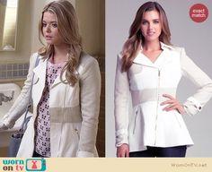 Ali's white coat on Pretty Little Liars.  Outfit Details: http://wornontv.net/34562/ #PLL