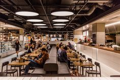 """David Jones has engaged Landini Associates to help """"reinvent"""" their food offering of the premium department store's food hall at Bondi Junction, Sydney. The food hall is the flagsh. Hall Interior Design, Australian Interior Design, Hall Design, Interior Paint, Restaurant Hotel, Restaurant Seating, Restaurant Design, Cafeteria Design, Cheap Interior Wall Paneling"""