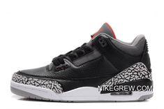 """4e74868093 Women Men New Air Jordan 3 Retro """"Black Cement"""" Black Varsity Red"""