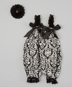 Take a look at this Black & White Damask Bubble Romper & Flower Clip by Whitney Elizabeth on #zulily today!