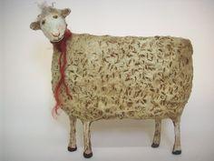Primitive Paper Mache Folk Art Sheep by papiermoonprimitives...