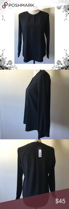 "{NYDJ}Petite Black Button Front Long Sleeve Blouse Chest across measures approx 18.5"". Length is approx 25.5"". Sleeve is approx 23"". 100% Polyester. Bundle for discounts! Thank you for shopping my closet! Bin 66 NYDJ Tops Blouses"
