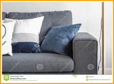Photo about Blue pillows on modern grey sofa in living room. Image of decoration, living, relax - 60208671 Sectional Couches For Sale, Couch With Chaise, Grey Sectional Sofa, Grey Couches, Chesterfield Sofa, Yellow Pillows, Grey Pillows, Blue Cushions, Cushions On Sofa