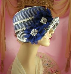 1920's Vintage Style Blue Silver White Ribbonwork Cloche Flapper Hat | eBay