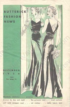 Butterick Fashion News, December 1936, this is an amazing dress pattern - seen on Pattern Vault