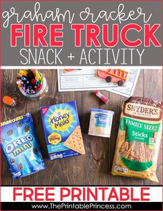 Fire safety week snack and freebie for PreK, Kindergarten, and First grade. Perfect for a fire safety unit - kids will love this snack!