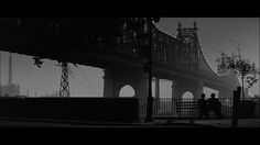 This is Roosevelt Island looking at Long Island City with the 59th Street Bridge on a foggy night ~ Shot in Black and White....Still from the movie Manhattan.  R.I.P. Gordon Willis.