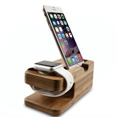 Compatible with 2015 Apple Watch both 38mm and 42mm, Compatible with iPhone Models: 5 / 5s/ 5c/ 6/ 6 Plus. Fits Apple Watch + iPhone simultaneously (Also can be used separately). Bamboo stand dock avoids scratching the Apple watch. Special cutout for the Apple Watch charger and cable. A great place to keep your Apple Watch and iPhone clean and safe while charging. Wood stand is as solid build for better stabilization and a natural look for a classy Chic home or office.  The dimensions are…