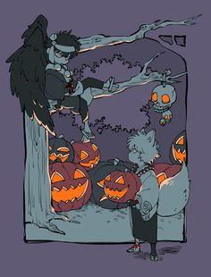Halloween Art, Happy Halloween, Gintama, Hallowen Ideas, Halloween Illustration, Okikagu, One Piece Manga, Character Drawing, Nightmare Before Christmas