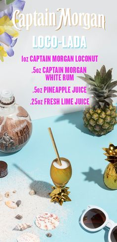 Celebrate summer with a fresh recipe any Captain can enjoy whether you're at home, on the beach, or in the bar. In a cocktail shaker, combine 1 oz Captain Morgan LocoNut, 0.5 oz Captain Morgan White Rum, 0.5 oz pineapple juice, and 0.25 oz fresh lime juice over ice. Shake vigorously for 10 seconds, strain into a glass, and enjoy the Loco-Lada. The lovechild of this pineapple and coconut is delicious and ready for its big shot.