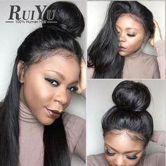 Cabelo Virgem indiano Reta Cheia Do Laço Perucas de Cabelo Humano Com O Bebê cabelo Parte Dianteira Do Laço Perucas de Cabelo Humano Para As Mulheres Negras peruca Cheia Do Laço perucas