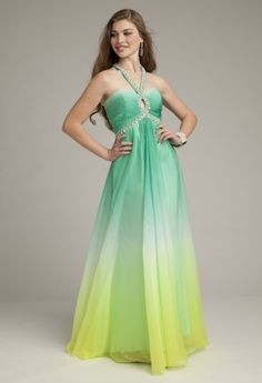 Prom Dresses 2013 - Long Ombre Chiffon Keyhole Halter Prom Dress from Camille La Vie and Group USA