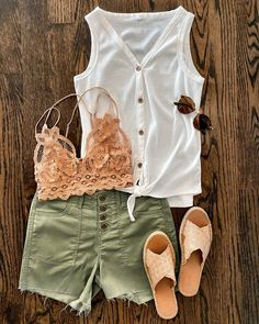 IG: @mrscasual | white tank green shorts lace bra & brown slides