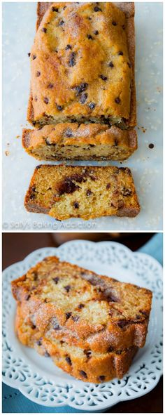 Super-moist chocolate chip quickbread with a deep, dark cinnamon swirl inside. There won't be a crumb left!--rach comment: was not overly sweet, but very yummy. Dan said it is like a bread. Köstliche Desserts, Delicious Desserts, Dessert Recipes, Yummy Food, Scones, Chocolate Chip Bread, Sallys Baking Addiction, Dessert Bread, Croissants