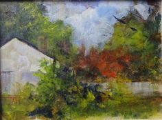 plein air acrylic sketch in my yard. 6x8 on canvas panel