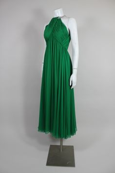 Malcolm Starr Emerald Green Gown with Jewel Collar