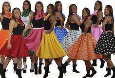 22 inch Adults Rock & Roll 1950s Full Circle Skirt & Scarf Fancy Dress Set