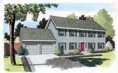 Colonial Saltbox Traditional House Plan 34705